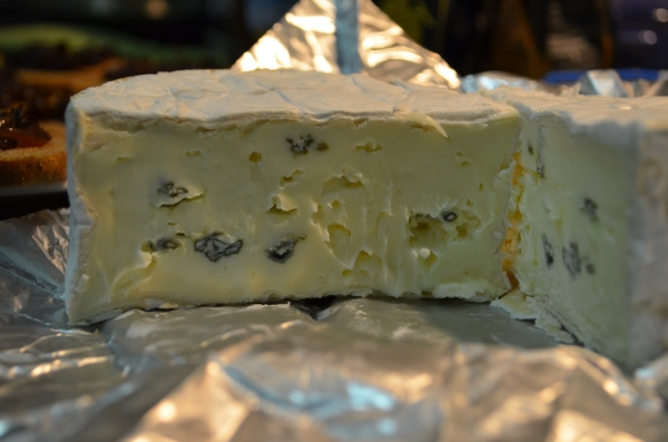 Blue brie has a great tangy flavor and melts easily.