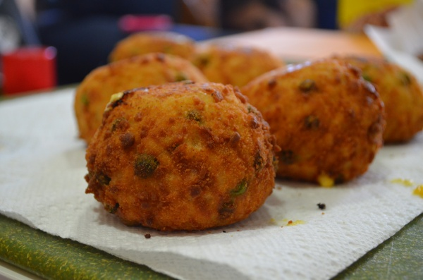 They look so fancy you wouldn't even guess that my arancini are made with Wheat Thins and Easy Cheese.